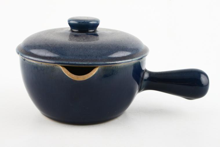 Denby - Cottage Blue - Casserole Dish + Lid - round - one large handle